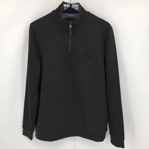 Ted Baker gray quarter zip heather gray shirt 4 M